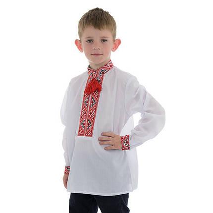 Детская сорочка для мальчика с красной вышивкой, фото 2