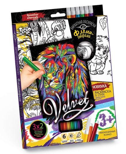 Раскраска DankoToys DT VLV-01-01 Velvet Бархатная с фломастерами, 3х2