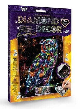 Набор для творчества DankoToys DT DD-01-09 Diamond Art Картина со стразами Бриллиантовая Сова
