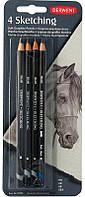 Карандаши чернографитные акварельные набор 4цв. Derwent Sketching 39003