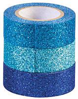 Декоративный скотч Heyda набор Синий с глиттером 15мм*3м 3шт 203584376