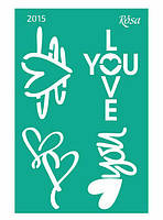 Трафарет самоклейка многоразовый 13*20см Rosa Talent №2015 серия Love GPТ50046006