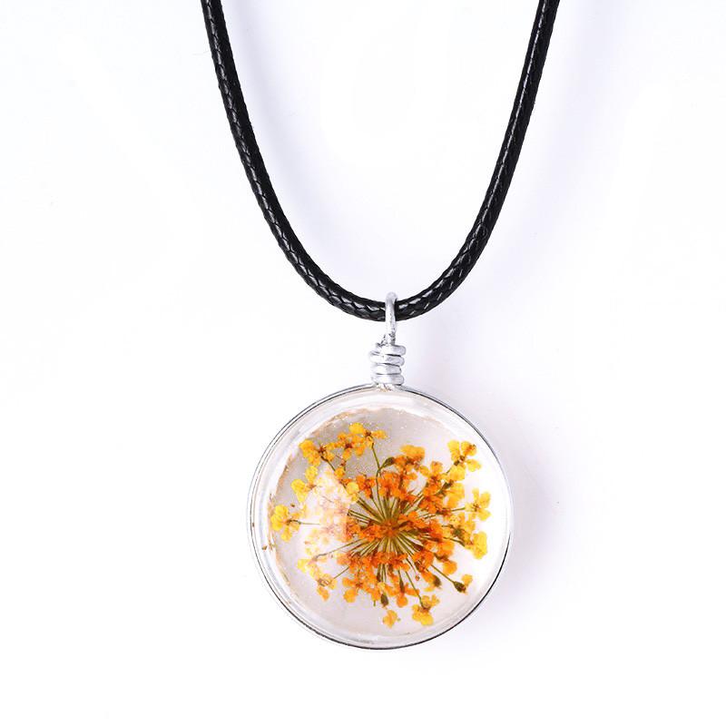 3D кулон с цветком внутри  оранжевое соцветие