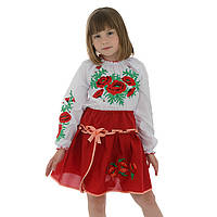 Красная юбка вышиванка для девочки Маки