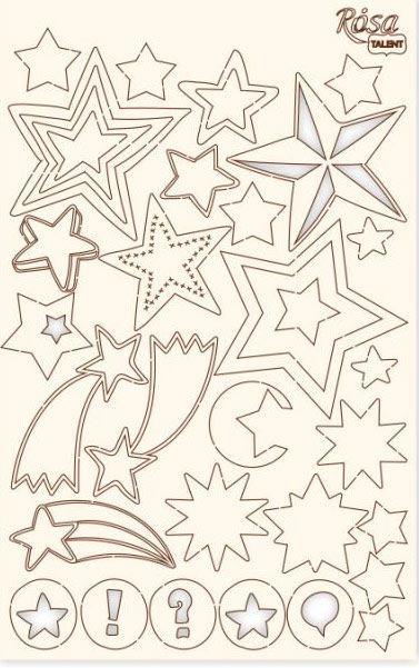 Чипборд для скрапбукинга 126*200 мм Звезды класический белый 94232055
