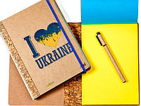 Блокнот для записей А5 140л. Kirisketch картон 2мм, Патриот, Желто-голубой чистый блок + ручка 312010