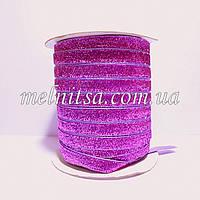 Лента бархатная с люрексом, 1 см, цвет св.фиолетовый