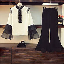 Женский костюм блузка шифон  и брюки коттон