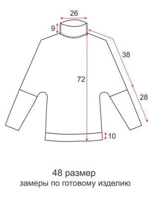 Туника летучая мышь цельнокроеная - 48 размер - чертеж
