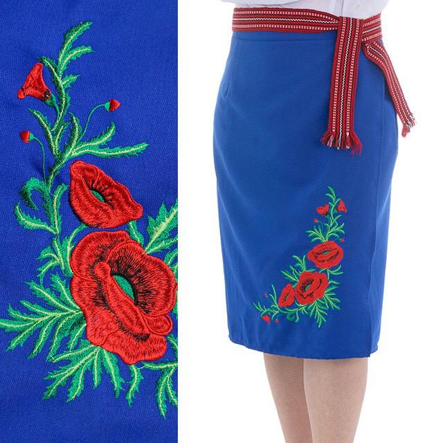 Синяя женская юбка плахта с вышивкой маки 65 см