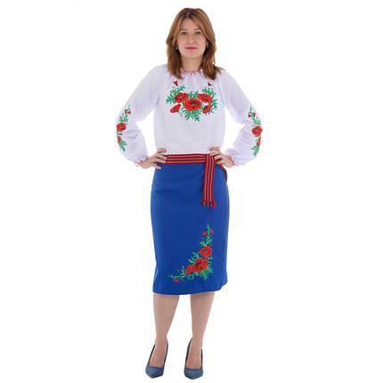 Синяя женская юбка плахта с вышивкой маки 65 см, фото 2