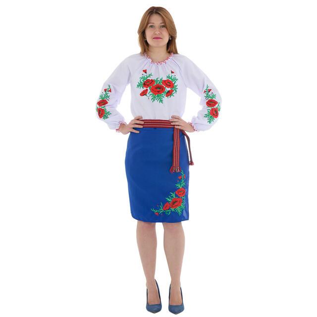 641b087ef59 Синяя женская юбка плахта с вышивкой маки 55 см