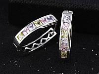 Серьги родий колечки с цветными цирконами, фото 1