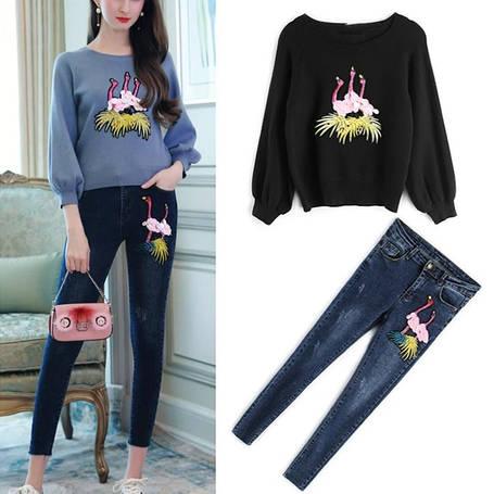 Женский костюм джинсы и свитер, фото 2