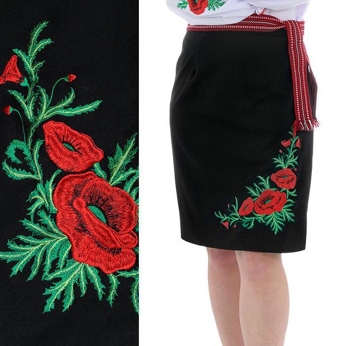 Черная женская юбка на запах с вышивкой Соломия 55 см