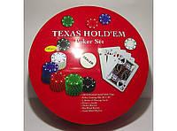 Набор для игры в покер в метал. упаковке (240 фишек+2 колоды карт+полотно) I3-98, покерный набор