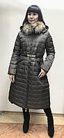 Пуховик пальто женский длинный зимний Mom Mee Mileid на молнии с натуральным мехом на воротнике, фото 1