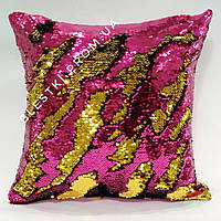 Подушка русалка из пайеток малиновая с золотом