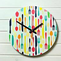 """Часы настенные на кухню - """"Столовые приборы"""" (на пластике)"""
