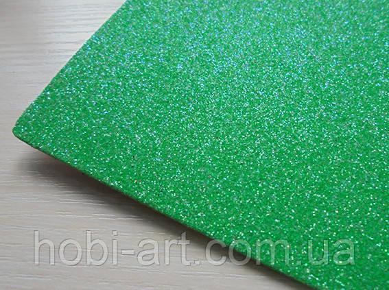 А4 Фоаміран з глітером на клейові основі  №  14 зелений