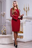 Элегантное и оригинальное платье цвета марсала с расклешенными от предплечья рукавами