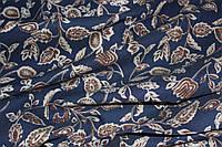 Ткань джинс стрейч листочки синий