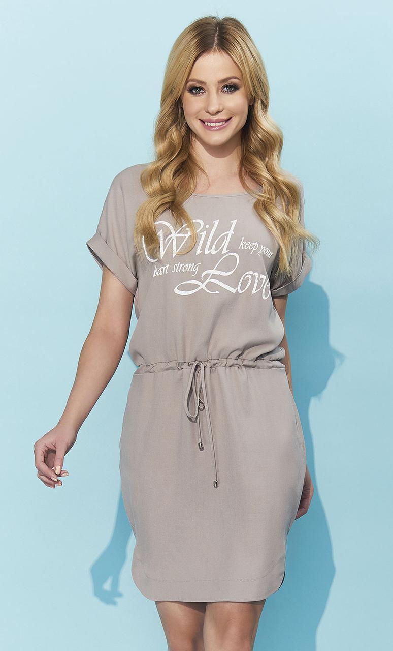 9c81921b7c4 Женское летнее платье с коротким рукавом цвета капучино. Модель Esser Zaps  - Irse в Одессе