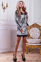 Платье прилегающего силуэта из велюрового трикотажа