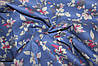 Ткань джинс стрейч листочки голубой №2