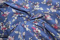 Ткань джинс стрейч листочки голубой №2, фото 1