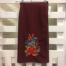 Бордовая женская юбка с запахом Мальва 55 см, фото 3
