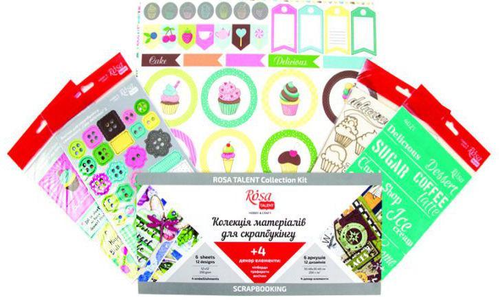 Бумага для скрапбукинга Rosa Talent набор 6л 30,5*30,5см Cake delicious двусторонняя 200 г/м + 4 декора 5312010