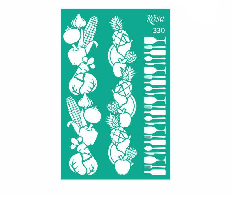 Трафарет самоклейка многоразовый 13*20см Rosa Talent бордюрный №330 серия Recipe book GPТ50046025