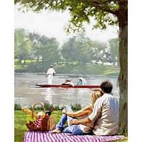 Картина раскраска по номерам на холсте 40*50см Babylon VP770 Пикник на берегу реки