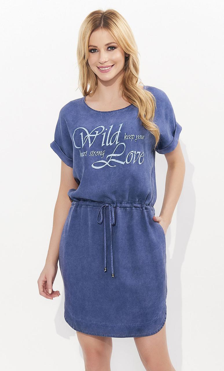 de04ffadb584e9 Летнее платье с коротким рукавом джинсового цвета. Модель Esser Zaps,  коллекция весна-лето