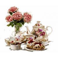 Картина раскраска по номерам на холсте 40*50см Babylon VP800 Чай с клубничными пирожными