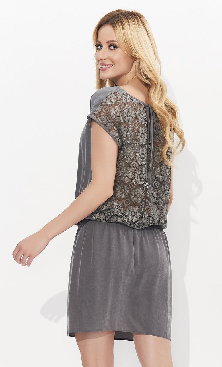 Женское летнее платье серого цвета с кружевной спинкой. Модель Kalipso Zaps
