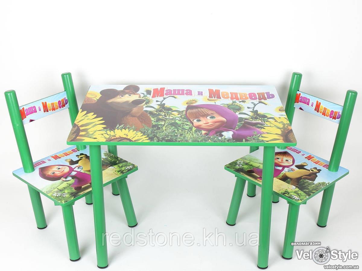 набор детской деревянной мебели столик 2 стульчика маша и медведь