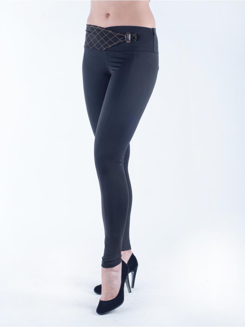 Женские лосины черного цвета с широким поясом