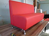 Диван офисный угловой 1200х700х800, Красный