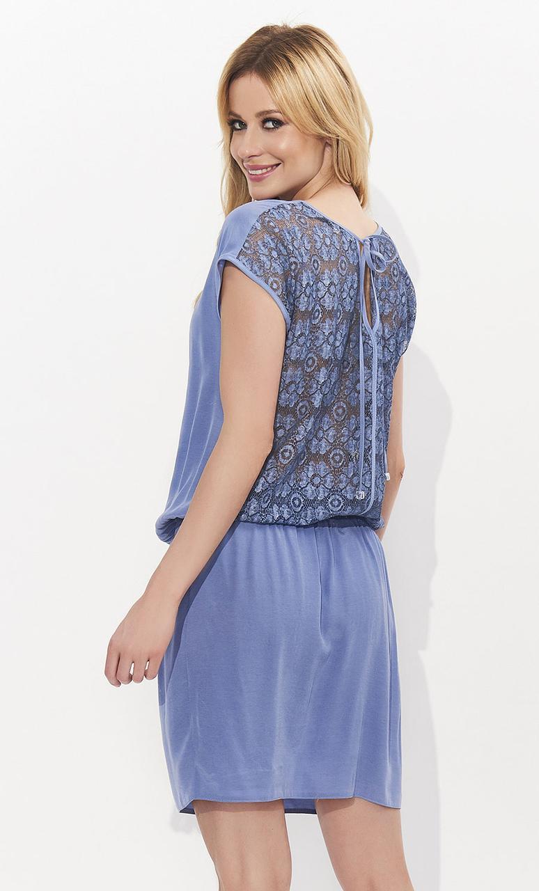 Женское летнее платье джинсового цвета с кружевной спинкой. Модель Kalipso Zaps