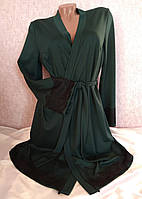 Домашний халат трикотажный с кружевом Зеленый, фото 1