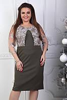 Элегантное женское платье футляр с имитацией кружевного болеро батал
