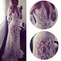 Кружевной белый пеньюар, платье для фотосессии, размер S М L ХL XXL XXXL