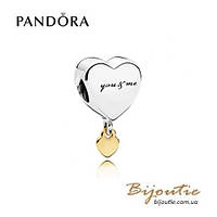 Pandora Шарм-подвеска ДВА СЕРДЦА #796558 серебро 925 золото 14к  Пандора оригинал