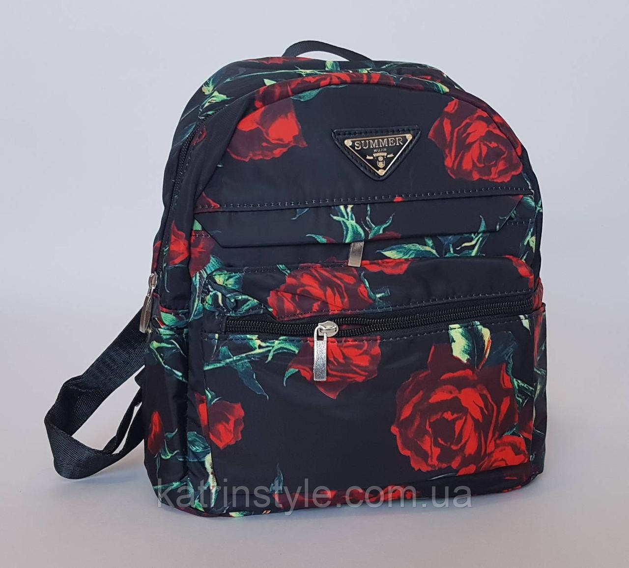 Рюкзак городской черный с яркими розами