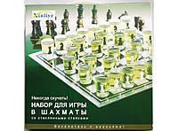 Набор для игры в шахматы со стеклянными стопками I5-43, шахматы - рюмки малые, шахматы со стопками