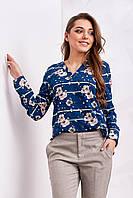 Стильная женская блуза с цветочным принтом, синего цвета