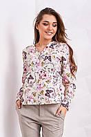 Стильная женская блуза с цветочным принтом, лимонного цвета