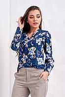 Стильная женская блуза с удлиненной спинкой, джинсового цвета